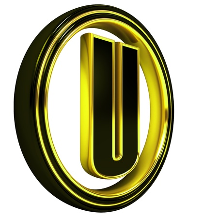 3D Letter u in circle. Black gold metal photo