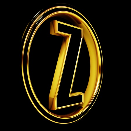 3D Letter z in circle. Black gold metal photo