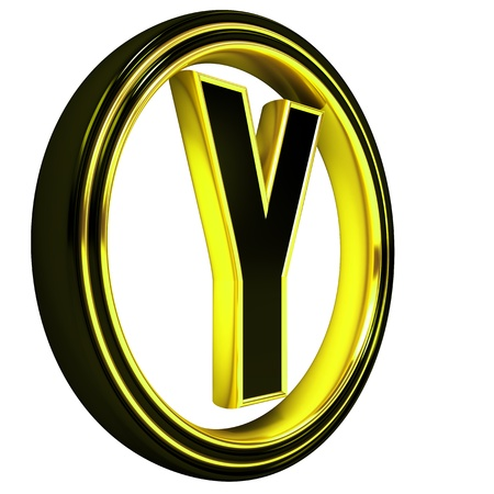 3D Letter y in circle. Black gold metal Stock Photo - 8892370