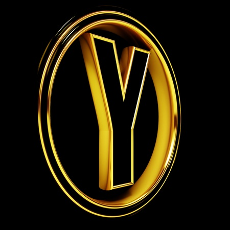 3D Letter y in circle. Black gold metal photo