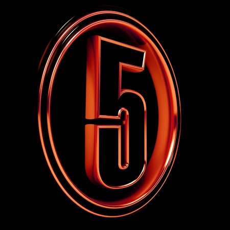 3D Letter 5  in circle. Red metal on black background photo