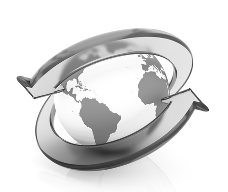 world connectivity: Two arrows surrounding Earth globe - 3d render Stock Photo