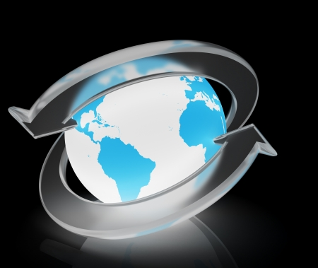 Two arrows surrounding Earth globe - 3d render Stock Photo - 8957963