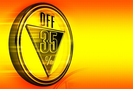 big five: Gold metal thirty-five percent off on orange background