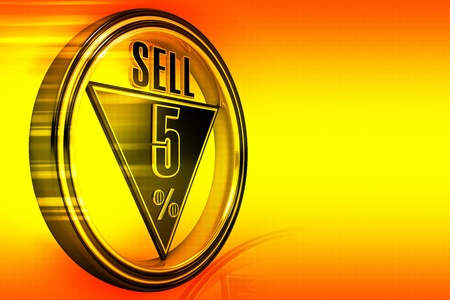Gold metal five percent sell on orange background photo