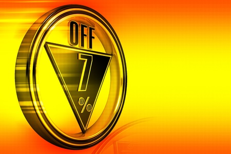 Gold metal seven percent off on orange background photo
