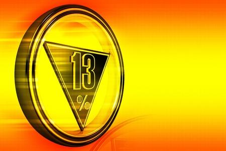 thirteen: Gold metal thirteen percent on orange background