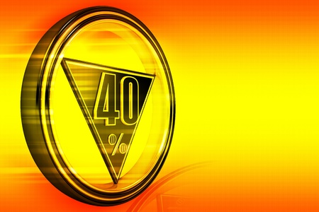 forty: Gold metal forty percent on orange background