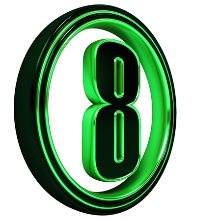 3D Letter 8 in circle. Green metal on White background photo
