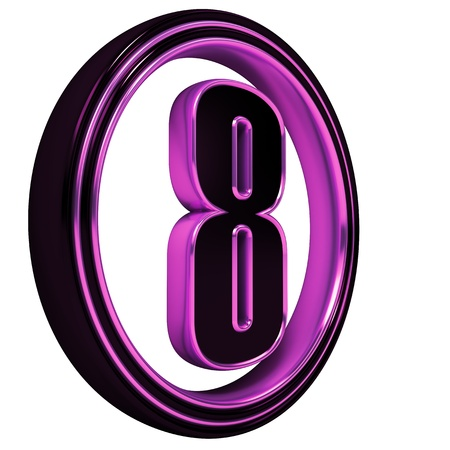 3D Letter 8 in circle. Magenta metal on White background photo