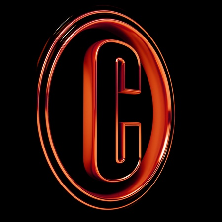 3D Letter C in circle. Red metal. Black background Stock Photo - 9022514