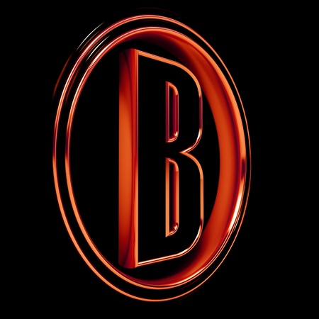 3D Letter B in circle. Red metal. Black background photo