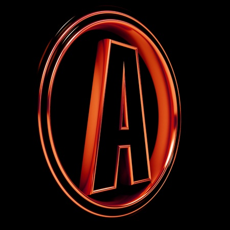 3D Letter A in circle. Red metal. Black background photo