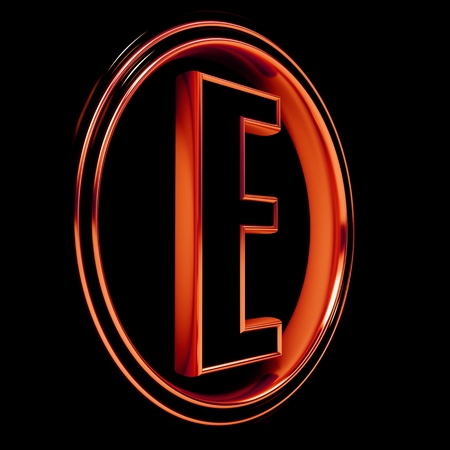 3D Letter E in circle. Red metal. Black background photo