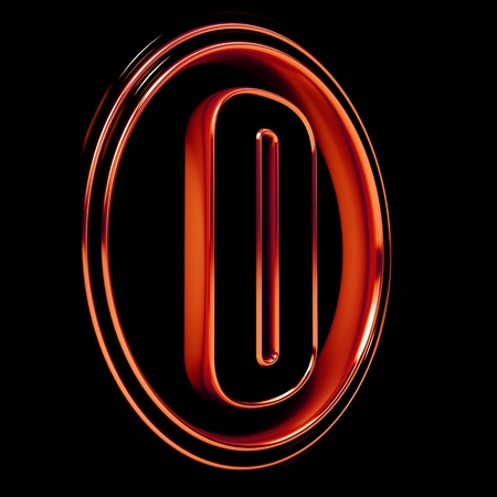 3D Letter O in circle. Red metal. Black background photo