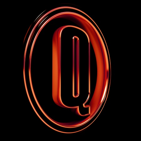 3D Letter Q in circle. Red metal. Black background Stock Photo - 9022518