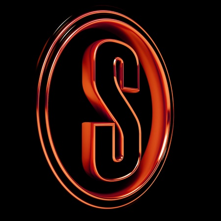 3D Letter S in circle. Red metal. Black background photo