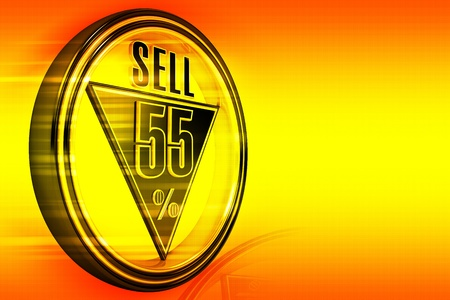 big five: Gold metal fifty-five percent sell on orange background