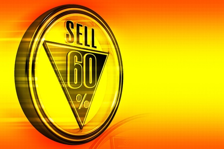 sixty: Gold metal sixty percent sell on orange background