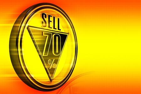 seventy: Gold metal settanta per cento vendere su sfondo arancione