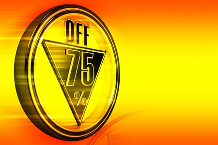 seventy: Gold metal seventy five percent off on orange background