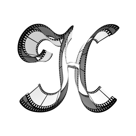 The alphabet from a film isolated on a white background. Letter h photo