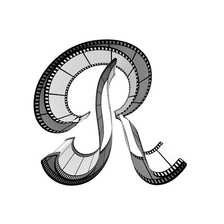 35mm film motion picture camera: The alphabet from a film isolated on a white background. Letter r Stock Photo