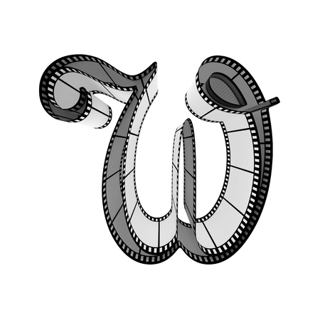 The alphabet from a film isolated on a white background. Letter w Stock Photo