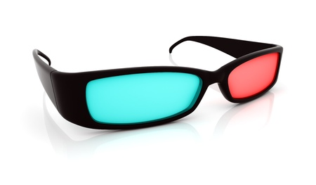 Stereo 3D glasses on white. Red cyan anaglyph photo