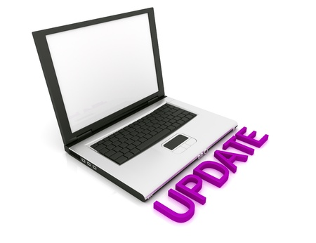 Empty Laptop with a color sign Update  Stock Photo