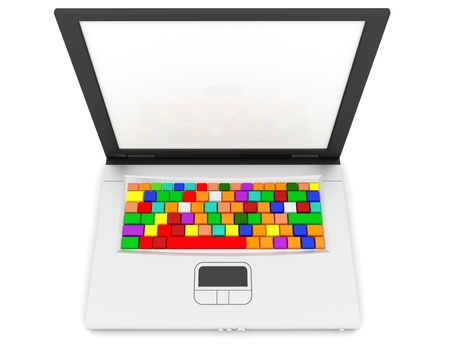 function key: Laptop keyboard with rainbow color keyboard. 3d