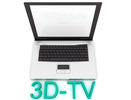 3dtv: 3D TV Icon. Laptop with 3D-TV word Stock Photo