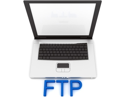 ftp: Empty Laptop with a color word FTP Stock Photo