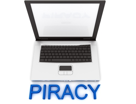piracy: Empty Laptop with a color word PIRACY Stock Photo