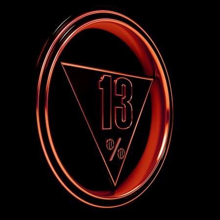 thirteen: Gold metal thirteen percent on black background. 13% Stock Photo