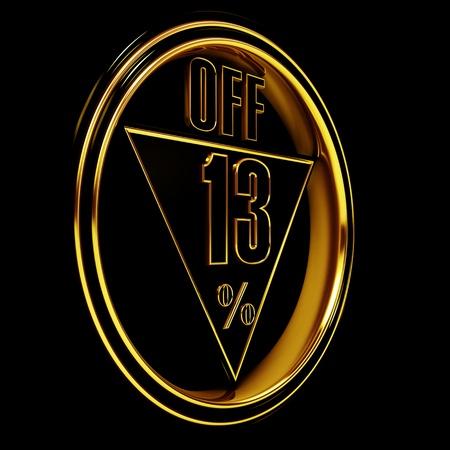 thirteen: Gold metal thirteen percent off on black background. 13%