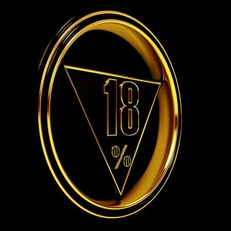 eighteen: Gold metal eighteen percent on black background. 18%