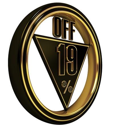 nineteen: Gold metal diciannove percento su sfondo bianco. 19 %