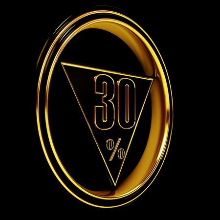 thirty: Gold metal thirty percent on black background. 30%