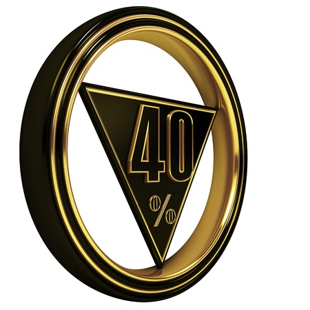 forty: Gold metal forty percent on white background. 40%
