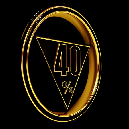 forty: Gold metal forty percent on black background. 40% Stock Photo