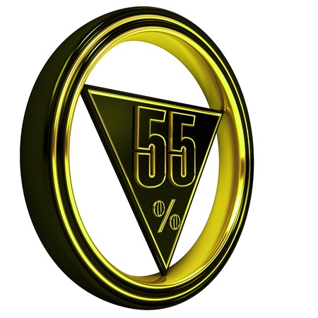 big five: Gold metal fifty-five percent on white background. 55% Stock Photo
