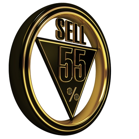 Gold metal fifty-five percent on white background. 55% photo