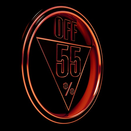 Gold metal fifty-five percent on black background. 55% photo