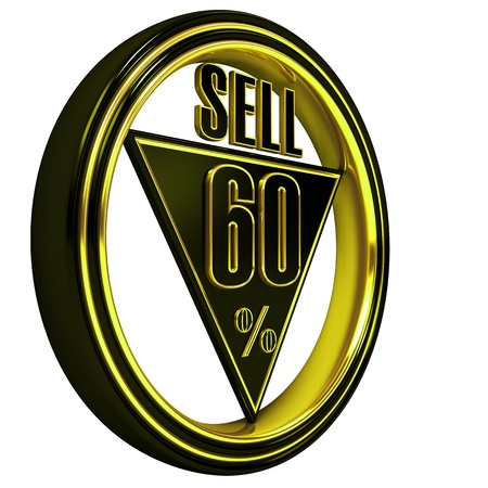 sixty: Gold metal sixty percent on white background. 60%