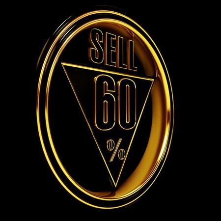 sixty: Gold metal sixty percent on black background. 60%