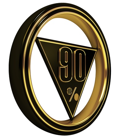 ninety: Gold metal ninety percent on white background. 90% Stock Photo