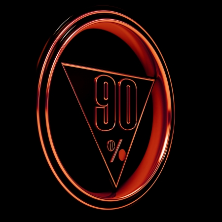 ninety: Gold metal ninety percent on black background. 90%