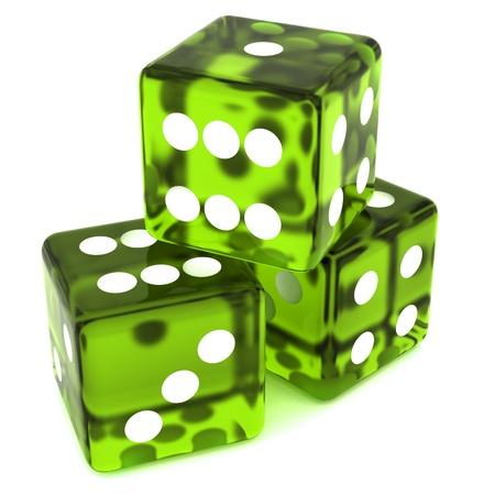 3D groen rollen dobbelstenen op witte achtergrond Stockfoto