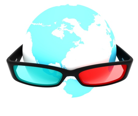 anaglyph: Model of Earth with anaglyph 3d glasses on it